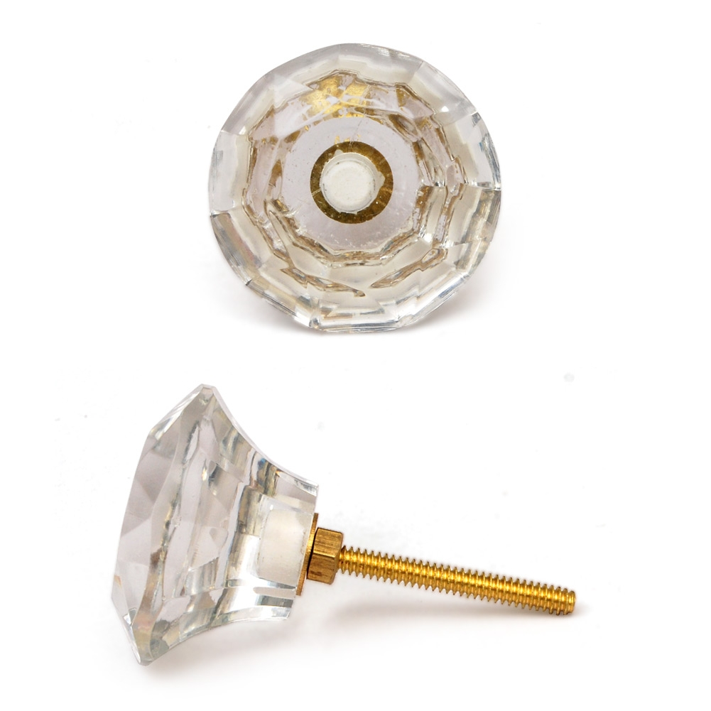 PotteryVille Clear Glass Diamond-Cut Mushroom Knob