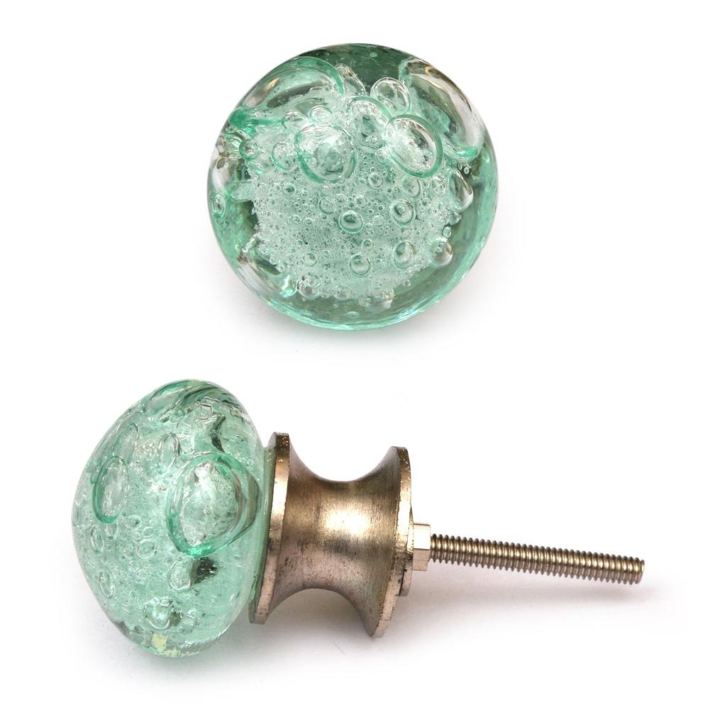 PotteryVille Aqua - Light Sea Green Glass Round Knob With Air Bubbles
