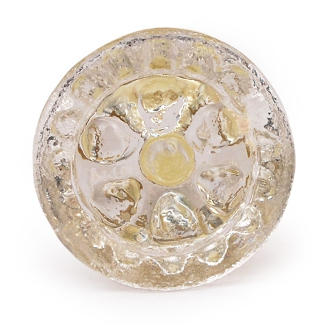 PotteryVille Clear Glass Flower Embossed Knob (Small)