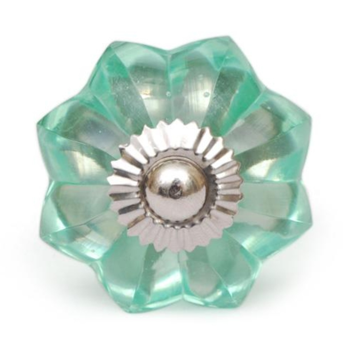 PotteryVille Sea Foam Green Glass Flower Cabinet Knob