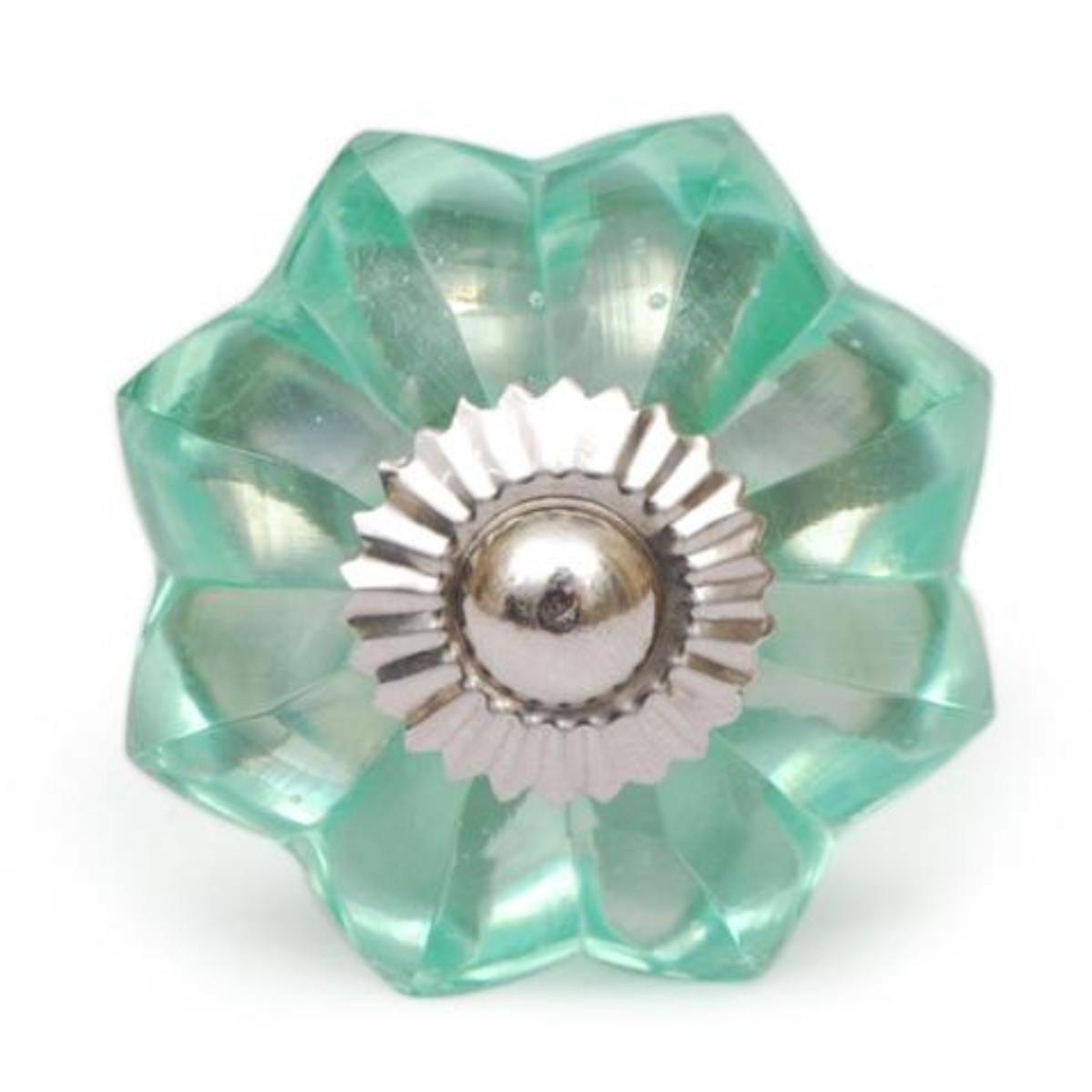Sea foam green glass flower cabinet knob low price door knobs
