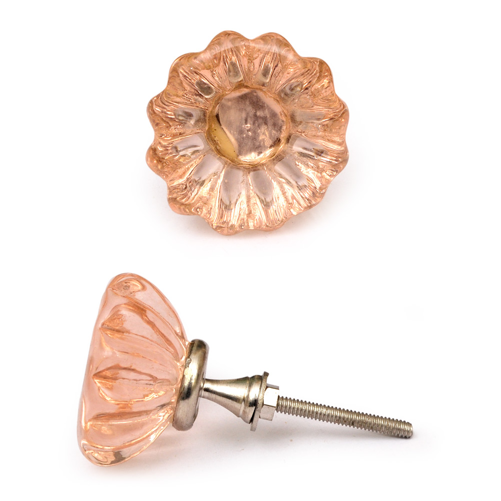 Pink Glass Flowered Cabinet Knob with Diamond-Cut Center
