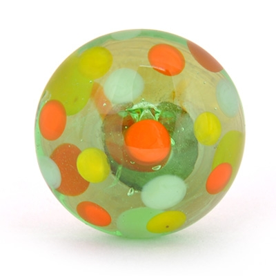 PotteryVille Red, Yellow, Turquoise and Lime Green Polka Dotted Glass Knob