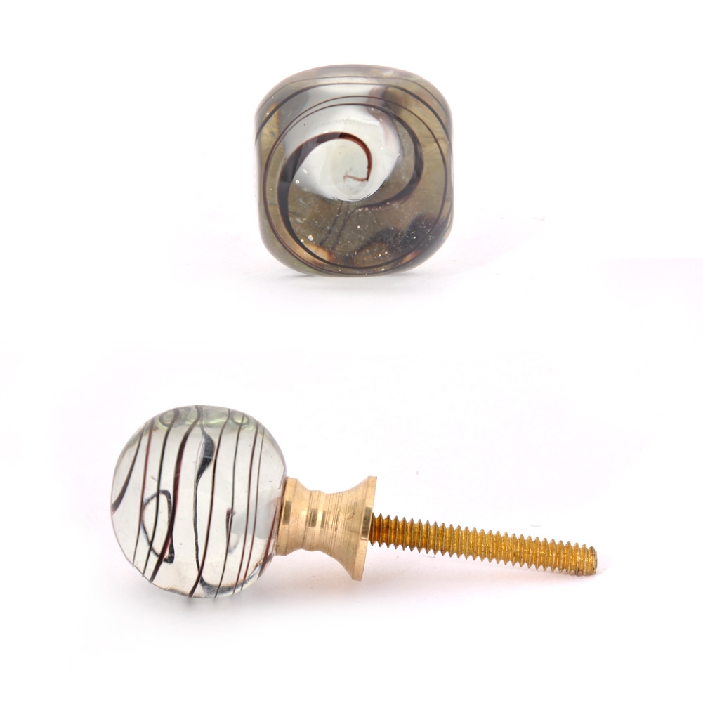 PotteryVille Black Swirl on Transparent Glass Knob
