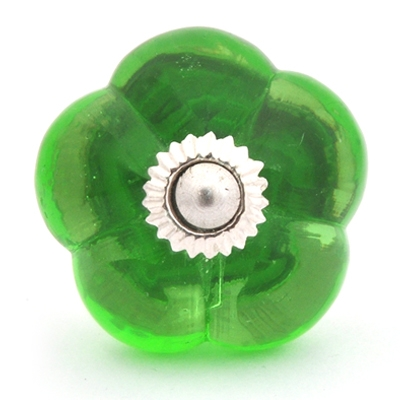 PotteryVille Lime Green Glass Melon-Shaped Knob
