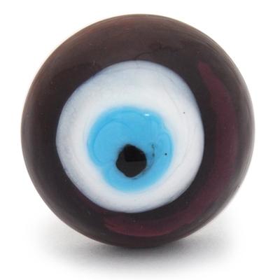 PotteryVille Violet, White, Turquoise and Black Center Evil Eye Glass Knob