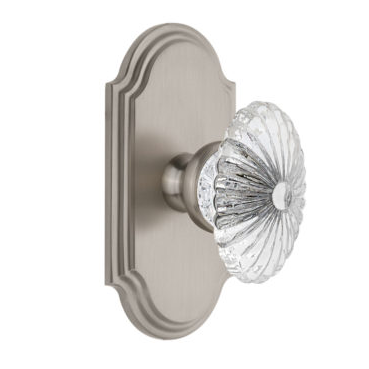 Grandeur Burgundy Crystal Door Knob Set with Arc Short Plate Satin Nickel