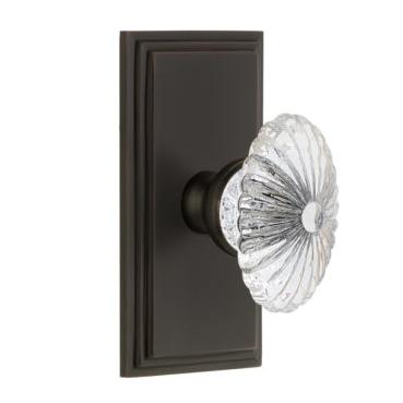 Grandeur Burgundy Crystal Door Knob Set with Carre Short Plate Timeless Bronze