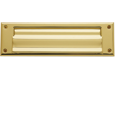 Baldwin 0015 Magazine Size Single Flap Letter Box Plate Lifetime Polished Brass