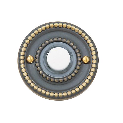 Baldwin 4850 Beaded Bell Button in Satin Brass & Black (050)