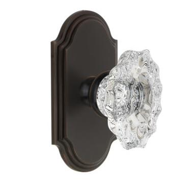 Grandeur Biarritz Crystal Door Knob Set with Arc Short Plate Timeless Bronze