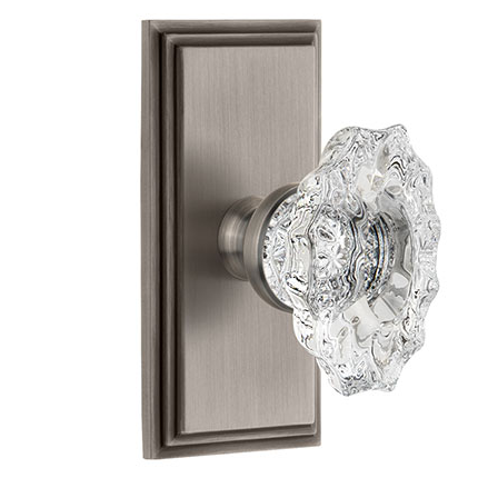 Grandeur Biarritz Crystal Door Knob Set with Carre Short Plate Antique Pewter