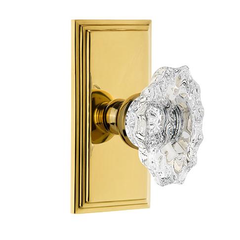 Grandeur Biarritz Crystal Door Knob Set with Carre Short Plate Lifetime Brass