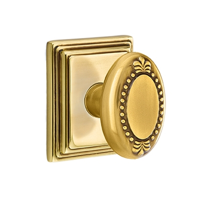 Emtek Beaded Egg Door knob with Wilshire Rose french Antique (US7)