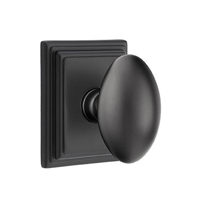Emtek Egg Door knob with Wilshire Rose Flat Black (US19)