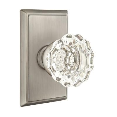 Emtek Astoria Clear Door knob with Rectangular Rose Satin Nickel (US15)