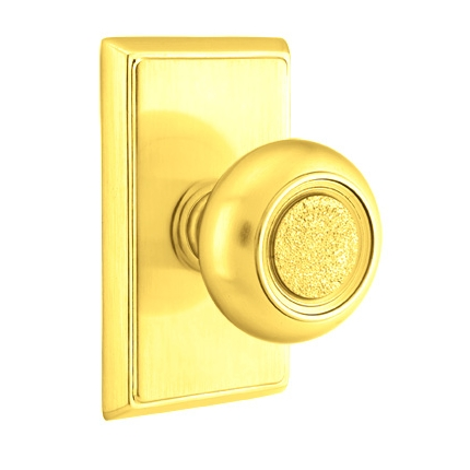 Emtek Belmont Door knob with Rectangular Rose Polished Brass (US3)