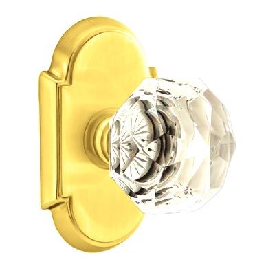 Emtek Diamond Crystal Door knob with #8 Rose Polished Brass (US3)