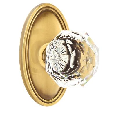 Emtek Diamond Crystal Door knob with Oval Rose French Antique (US7)