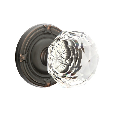 Emtek Diamond Crystal Door knob with Regular Rose Oil Rubbed Bronze (US10B)