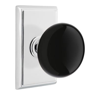 Emtek Ebony Door Knob Set with Rectangular Rose Polished Chrome (US26)