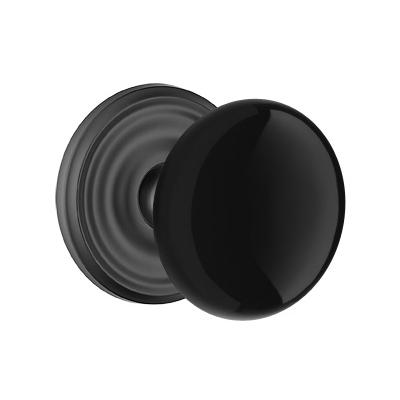Emtek Ebony Door Knob Set with Regular Rose Flat Black (US19)