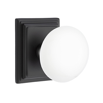 Emtek Ice White Door Knob Set with Wilshire Rose Flat Black (US19)