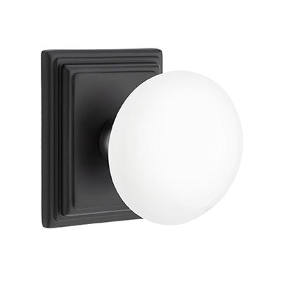 Emtek Ice White Door Knob Set with Wilshire Rose Flat Black (US19)