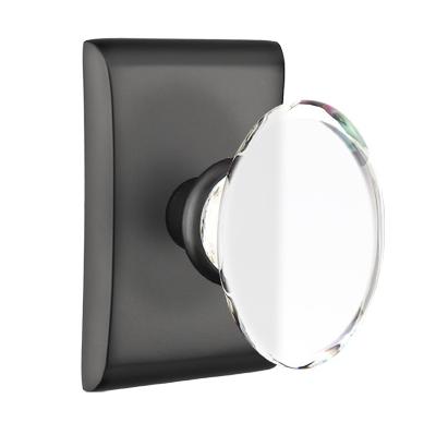 Emtek Modern Hampton Door Knob Set with Neos Rosette Flat Black