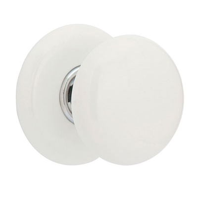 Attractive Emtek Ice White Door Knob Set With Porcelain Rosette In Polished Chrome  (US26)