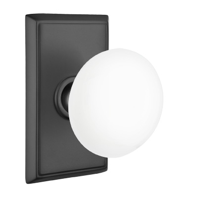 Emtek Ice White Door Knob Set with Rectangular Rose Flat Black (US19)