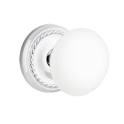 Emtek Ice White Door Knob Set With Rope Rose Polished Chrome (US26)