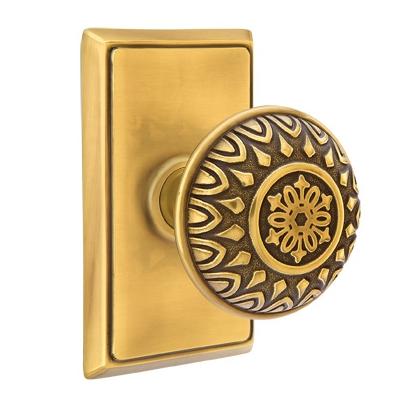 Emtek Lancaster Door knob with Rectangular Rose French Antique (US7)