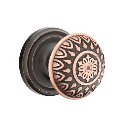 Emtek Lancaster Door knob with Regular Rose Oil Rubbed Bronze (US10B)