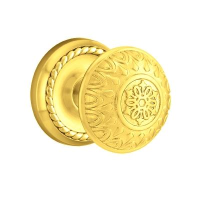Emtek Lancaster Door knob with Rope Rose Polished Brass (US3)