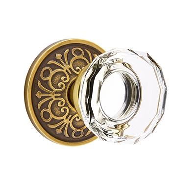 Emtek Lowell Crystal Door Knob Set with Lancaster Rose French Antique (US7)