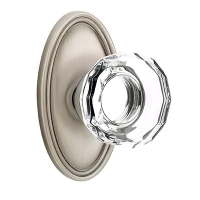 Emtek Lowell Crystal Door Knob Set with Oval Rose Pewter (US15A)