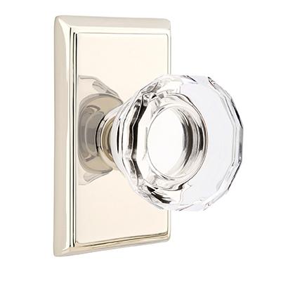 Emtek Lowell Crystal Door Knob Set With Rectangular Rose Polished Nickel  (US14)
