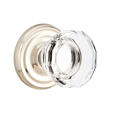Emtek Lowell Crystal Door Knob Set With Regular Rose Polished Nickel (US14)