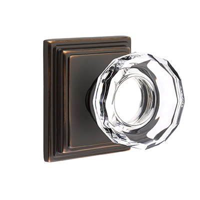 Emtek Lowell Crystal Door Knob Set with Wilshire Rose Oil Rubbed Bronze (US10B)