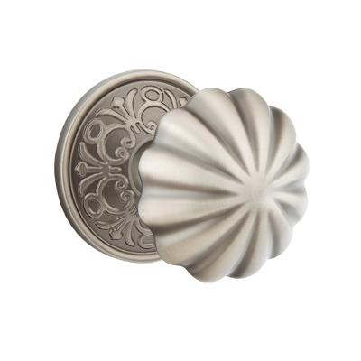 Emtek Melon Door knob with Lancaster Rose Pewter (US15A)