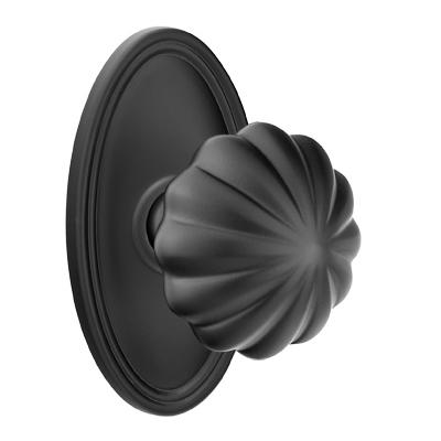 Emtek Melon Door knob with Oval Rose Flat Black (US19)