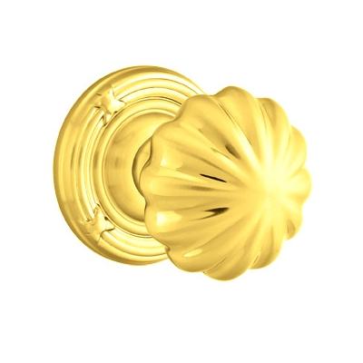 Emtek Melon Door knob with Ribbon and Reed Rose Polished Brass (US3)