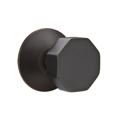 Emtek Brass Octagon Door Knob Set with Modern Rose Oil Rubbed Bronze (US10B)