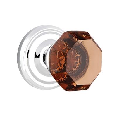 Emtek Old Town Door Knob Amber with Regular Rose Polished Chrome (US26)