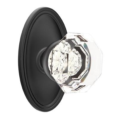 Emtek Old Town Clear knob with Oval Rose Flat Black (US19)