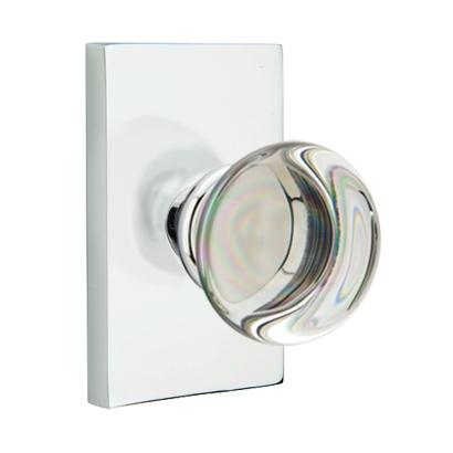 mtek Modern Providence Crystal Door Knob with Modern Rectangular Rose PC