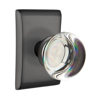 mtek Modern Providence Crystal Door Knob Set with Neos Rose Flat Black