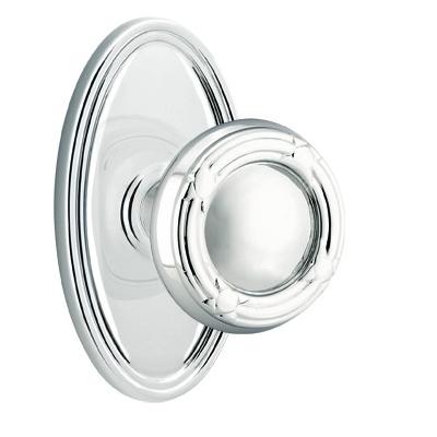 Emtek Ribbon and Reed Door Knob with Oval Rose Polished Chrome (US26)