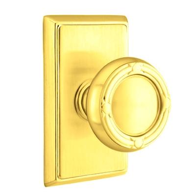 Emtek Ribbon and Reed Door Knob with Rectangular Rose Polished brass (US3)